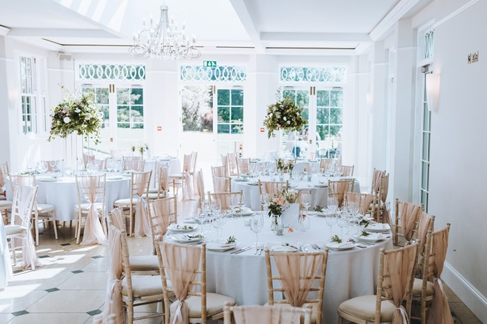 Elegant wedding decor at Rockbeare Manor
