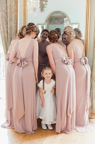 Bridesmaids in the Drawing Room at Rockbeare Manor