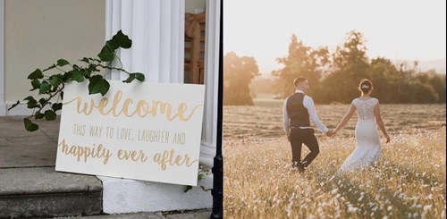 Bride and groom walking in sunset. Wedding welcome sign.