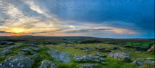 Beautiful image of the view from Sheepstor at Dartmoor National Park whilst the sun sets