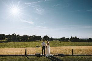 Bride and Groom in landscape at Rockbeare Manor Exeter
