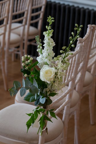 Chair florals at Rockbeare Manor in Exeter
